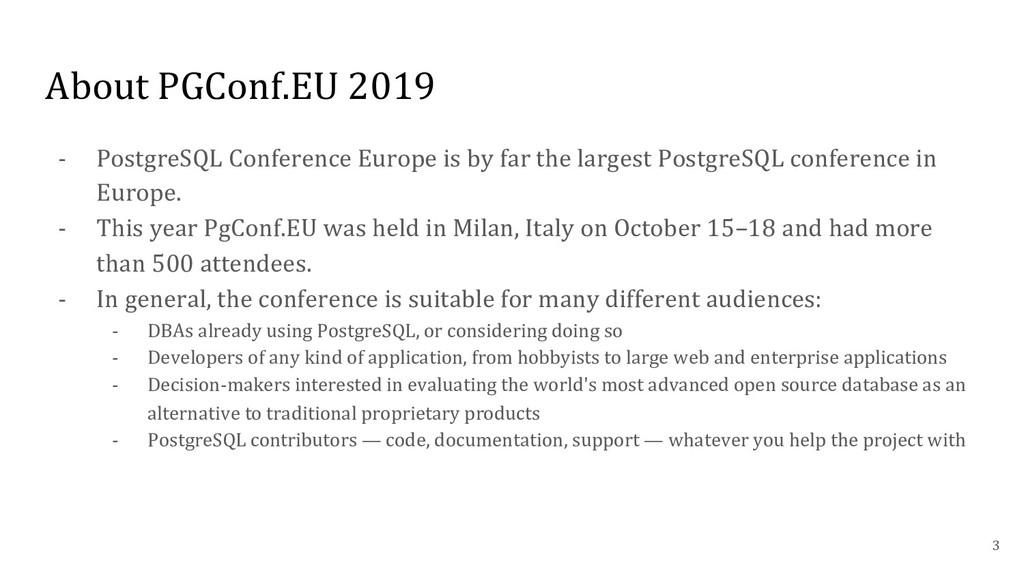 About PGConf.EU 2019 - PostgreSQL Conference Eu...