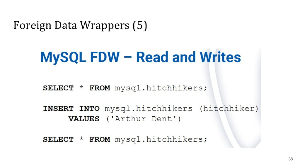 Foreign Data Wrappers (5) 38
