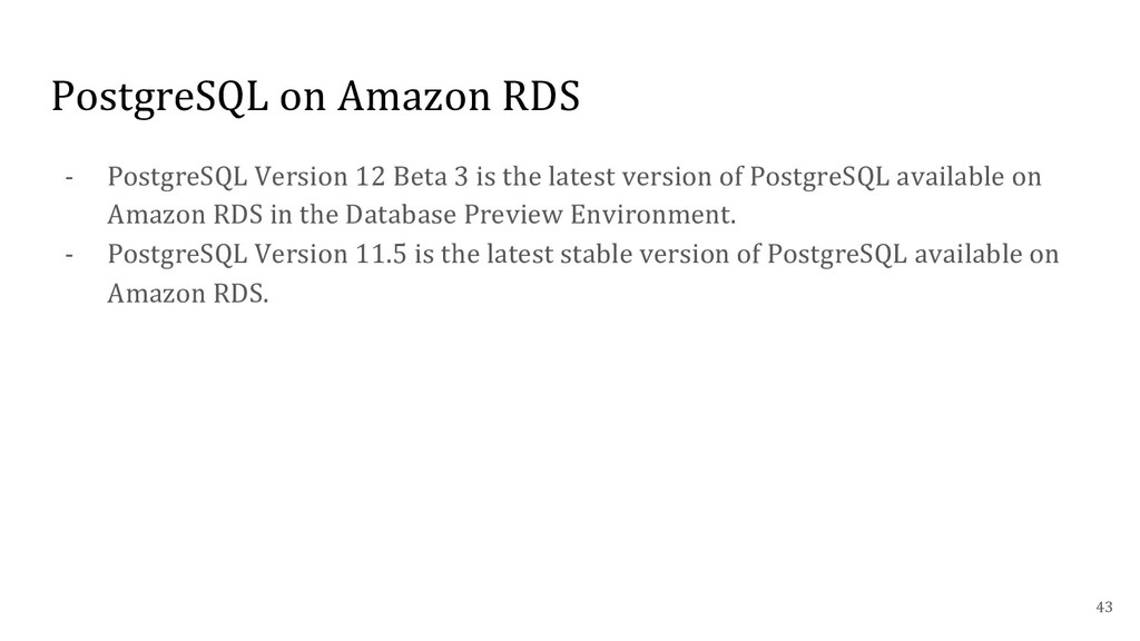 PostgreSQL on Amazon RDS - PostgreSQL Version 1...