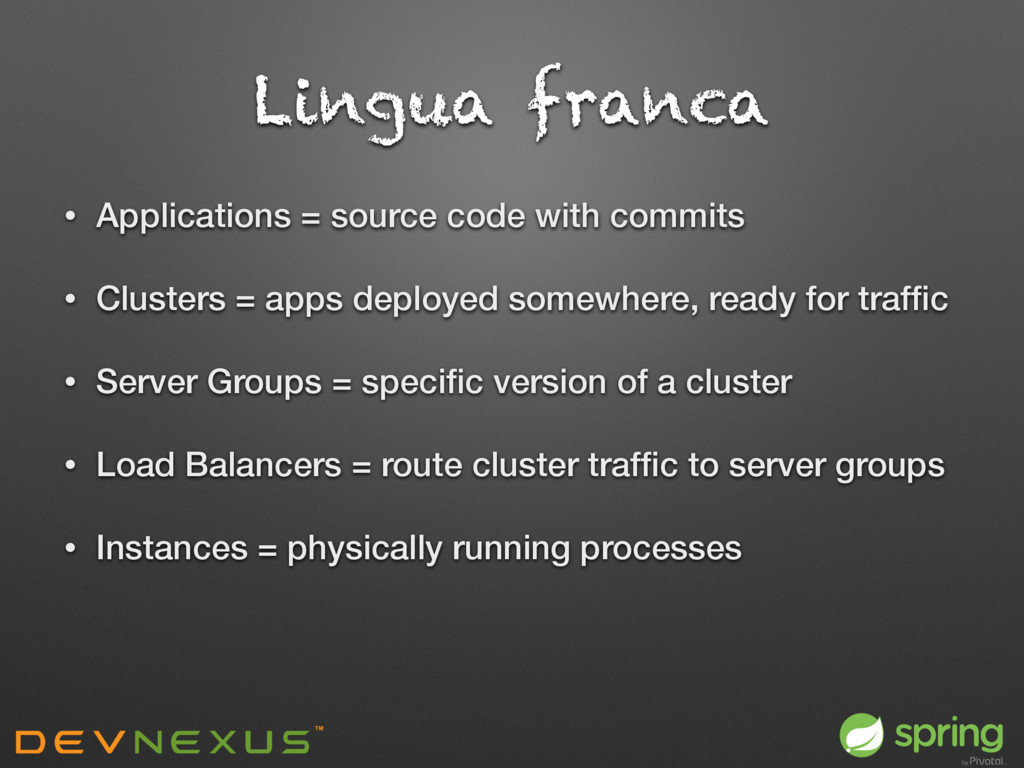Lingua franca • Applications = source code with...