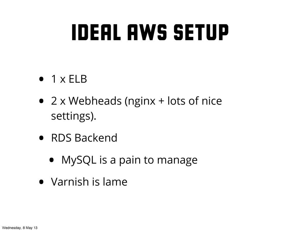 Ideal AWS Setup • 1 x ELB • 2 x Webheads (nginx...