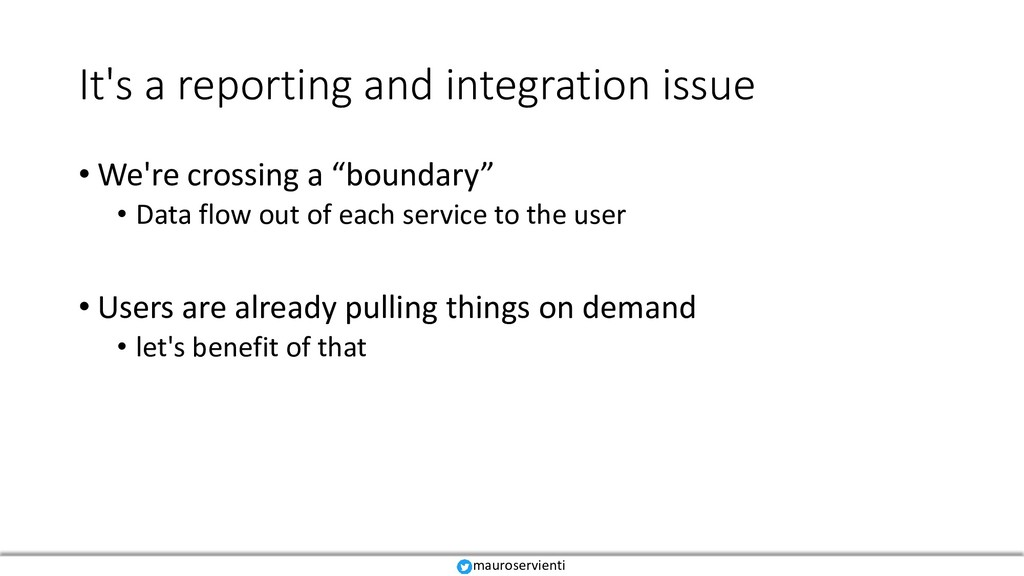 It's a reporting and integration issue • We're ...