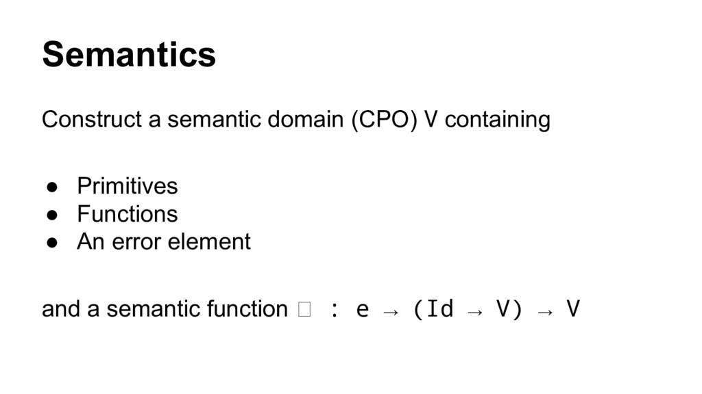 Semantics Construct a semantic domain (CPO) V c...