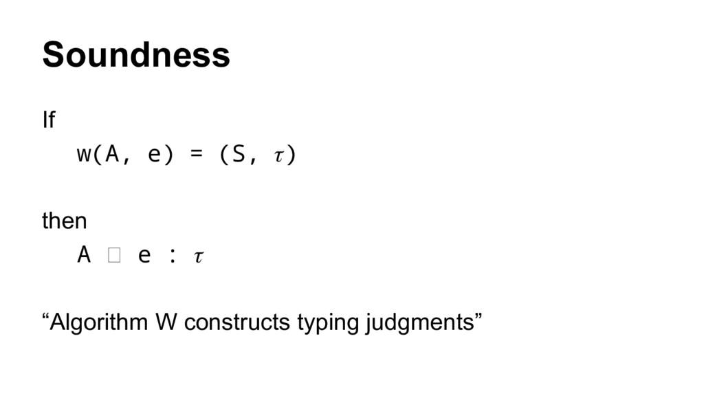 "Soundness If w(A, e) = (S, ) then A e : ""Algori..."