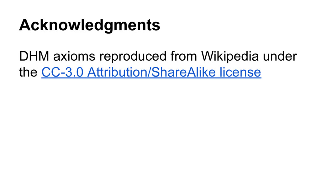 Acknowledgments DHM axioms reproduced from Wiki...