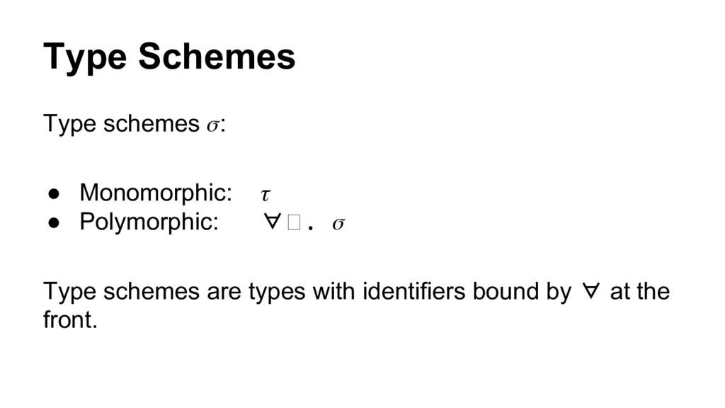 Type Schemes Type schemes : ● Monomorphic: ● Po...