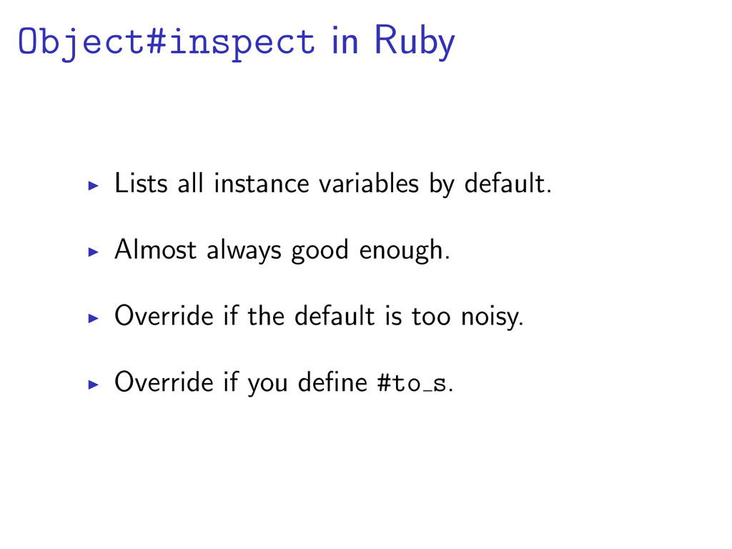 Object#inspect in Ruby Lists all instance varia...