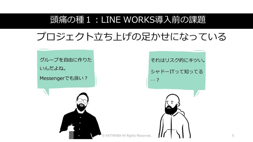 頭痛の種1:LINE WORKS導入前の課題 グループを自由に作りた いんだよね。 Messe...