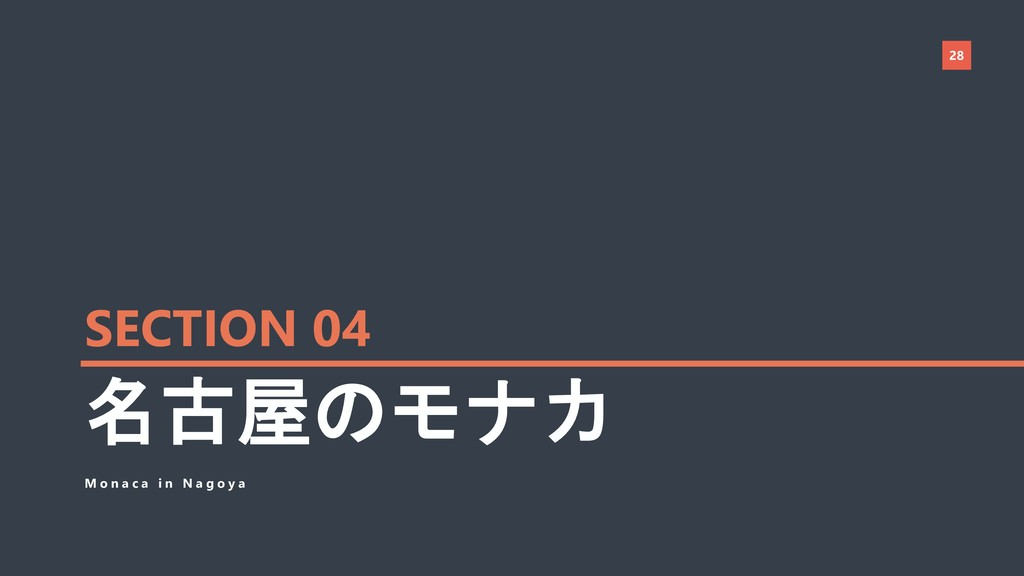 28 名古屋のモナカ M o n a c a i n N a g o y a SECTION ...