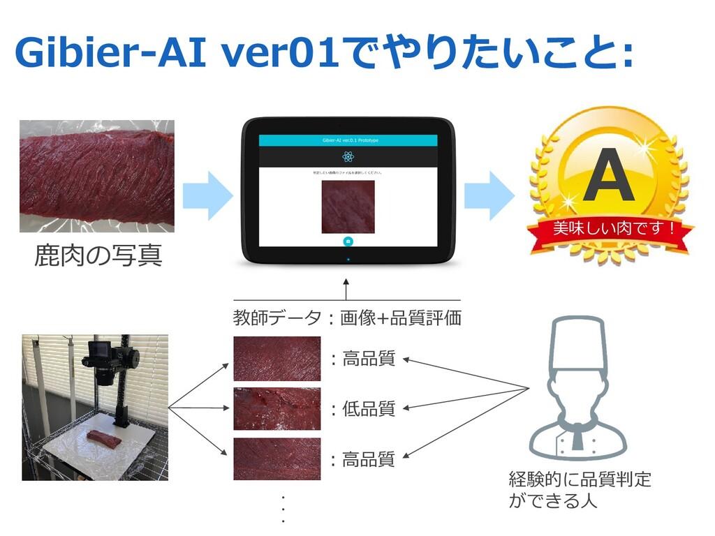 教師データ︓画像+品質評価 Gibier-AI ver01でやりたいこと: ⿅⾁の写真 美味し...