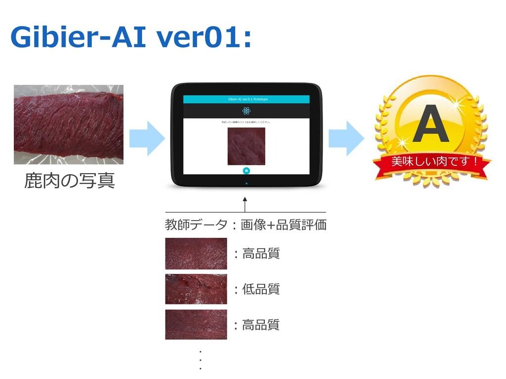 教師データ︓画像+品質評価 Gibier-AI ver01: ⿅⾁の写真 美味しい⾁です︕ A...