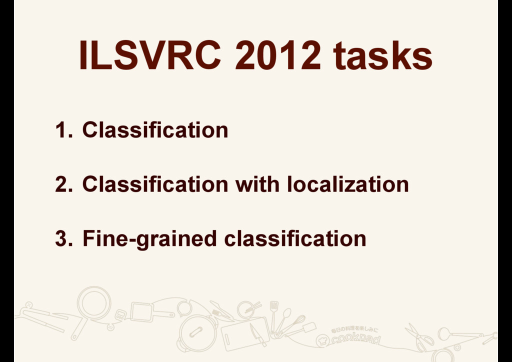 ILSVRC 2012 tasks 1. Classification 2. Classifi...