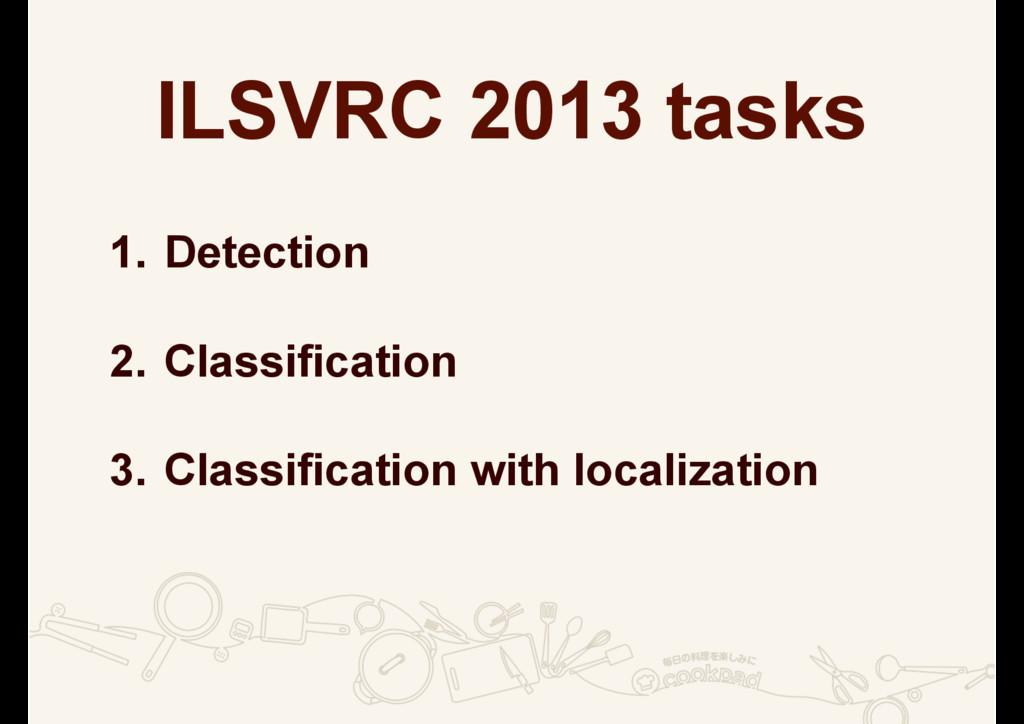 ILSVRC 2013 tasks 1. Detection 2. Classificatio...