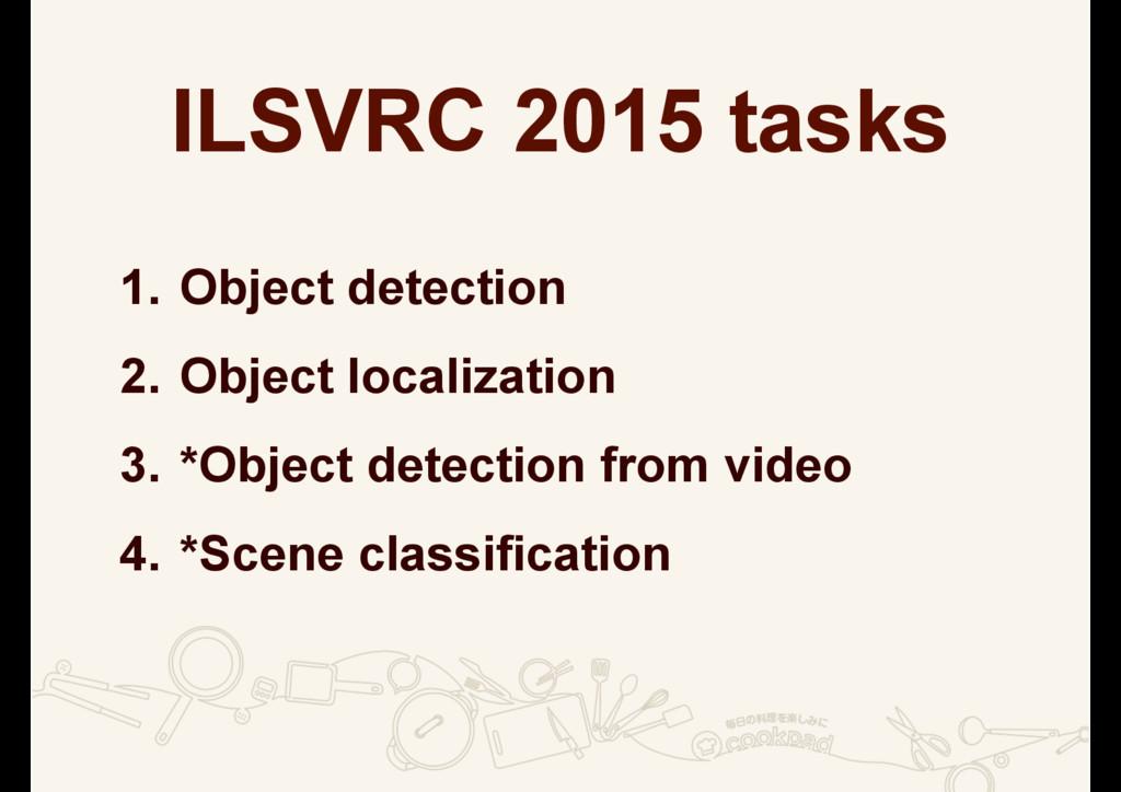 ILSVRC 2015 tasks 1. Object detection 2. Object...
