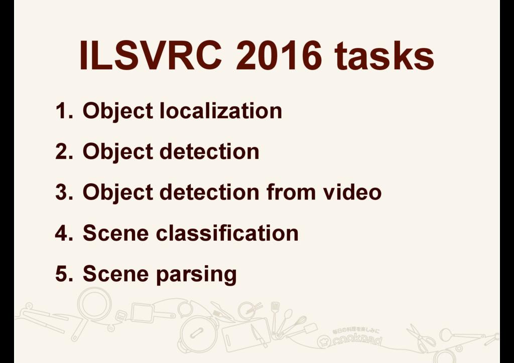ILSVRC 2016 tasks 1. Object localization 2. Obj...