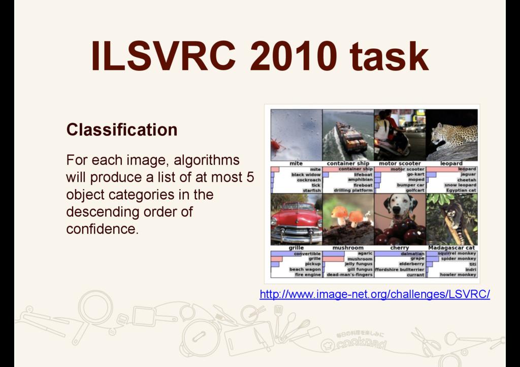 ILSVRC 2010 task Classification )RUHDFKLPDJH...