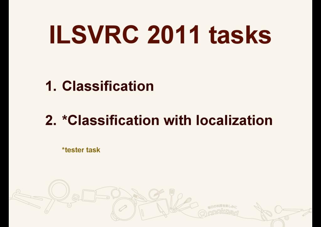 ILSVRC 2011 tasks 1. Classification 2. *Classif...
