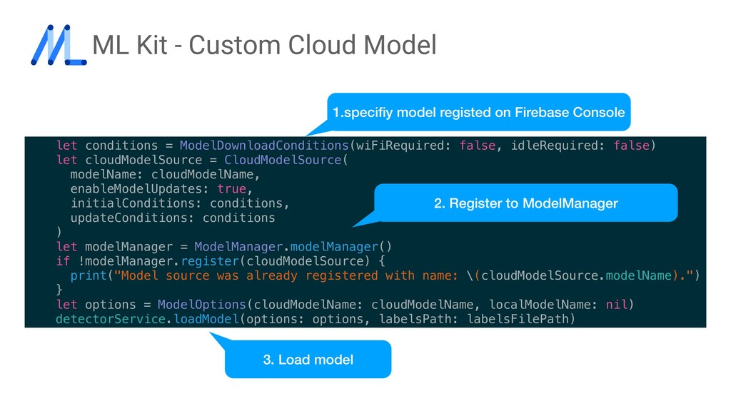 ML Kit - Custom Cloud Model let conditions = Mo...