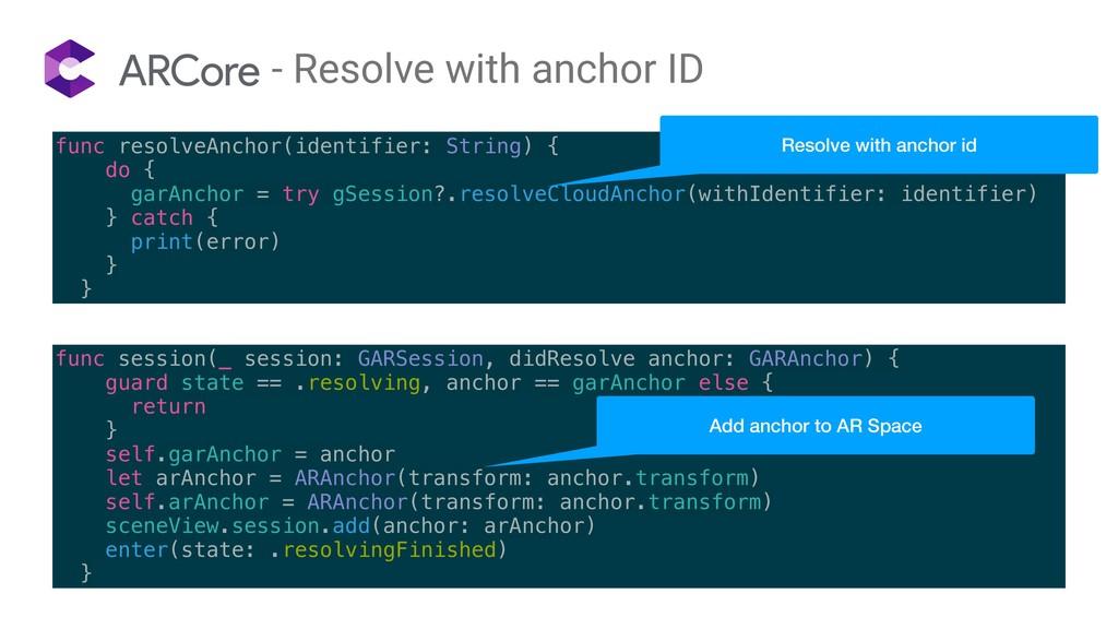 func resolveAnchor(identifier: String) { do { g...