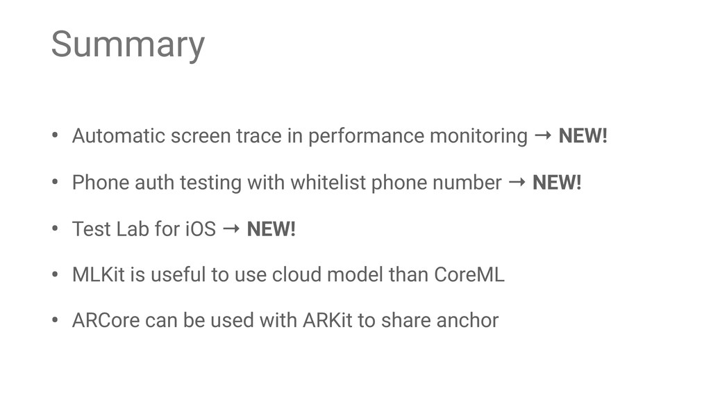 Summary • Automatic screen trace in performance...