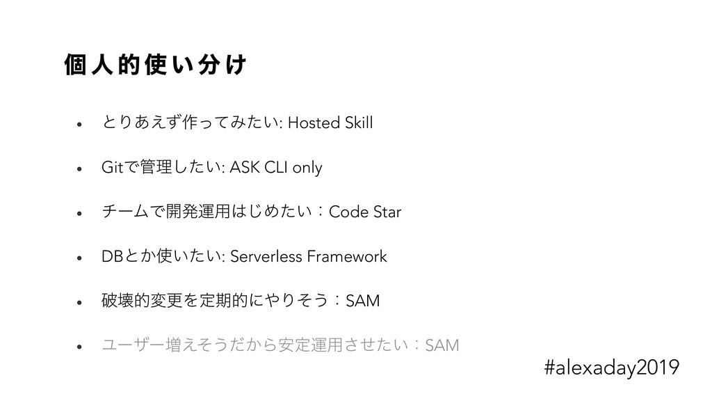 ݸ ਓ త  ͍  ͚ • ͱΓ͋͑ͣ࡞ͬͯΈ͍ͨ: Hosted Skill • Git...