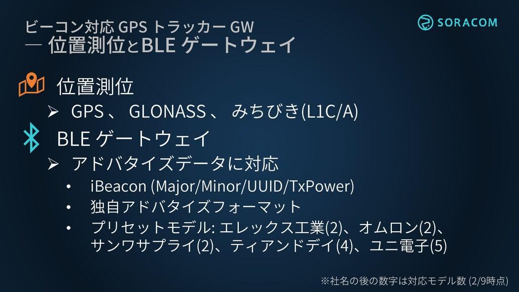 ビーコン対応 GPS トラッカー GW ― 位置測位とBLE ゲートウェイ 位置測位 ➢ GP...