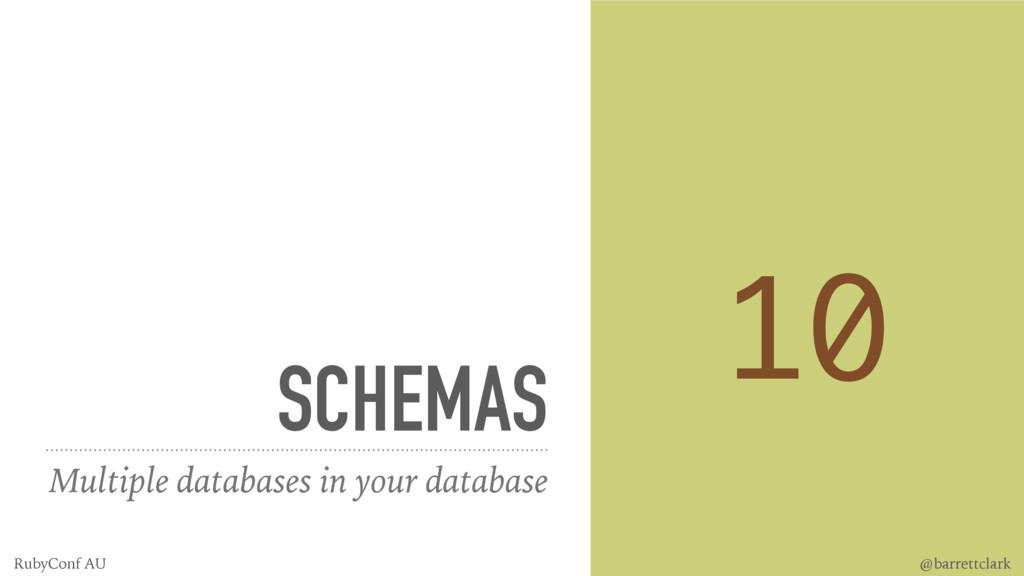 SCHEMAS Multiple databases in your database 10 ...