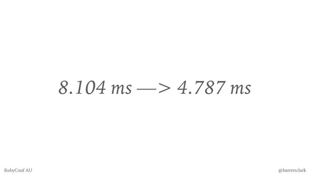 8.104 ms —> 4.787 ms @barrettclark RubyConf AU