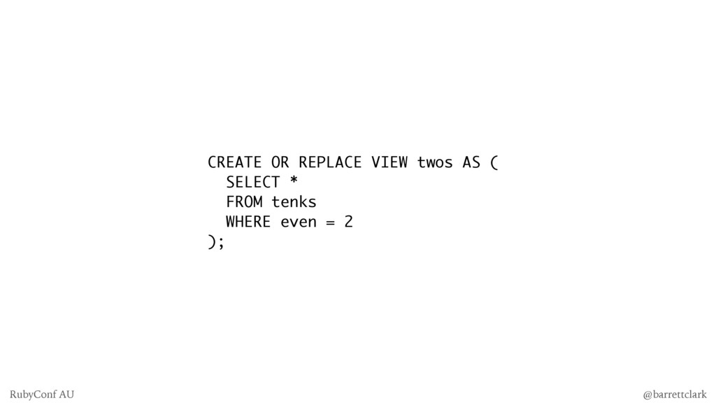 CREATE OR REPLACE VIEW twos AS ( SELECT * FROM ...