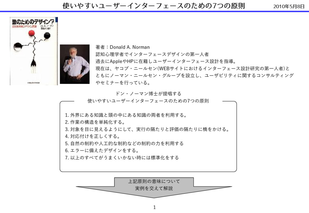 2010年5⽉8⽇ 使いやすいユーザーインターフェースのための7つの原則  ஶऀɿ%POBM...