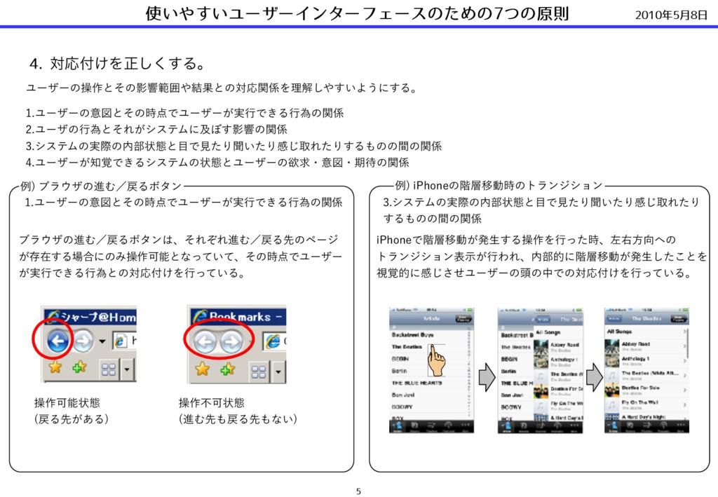 2010年5⽉8⽇ 使いやすいユーザーインターフェースのための7つの原則 5 4. ରԠ͚Λ...