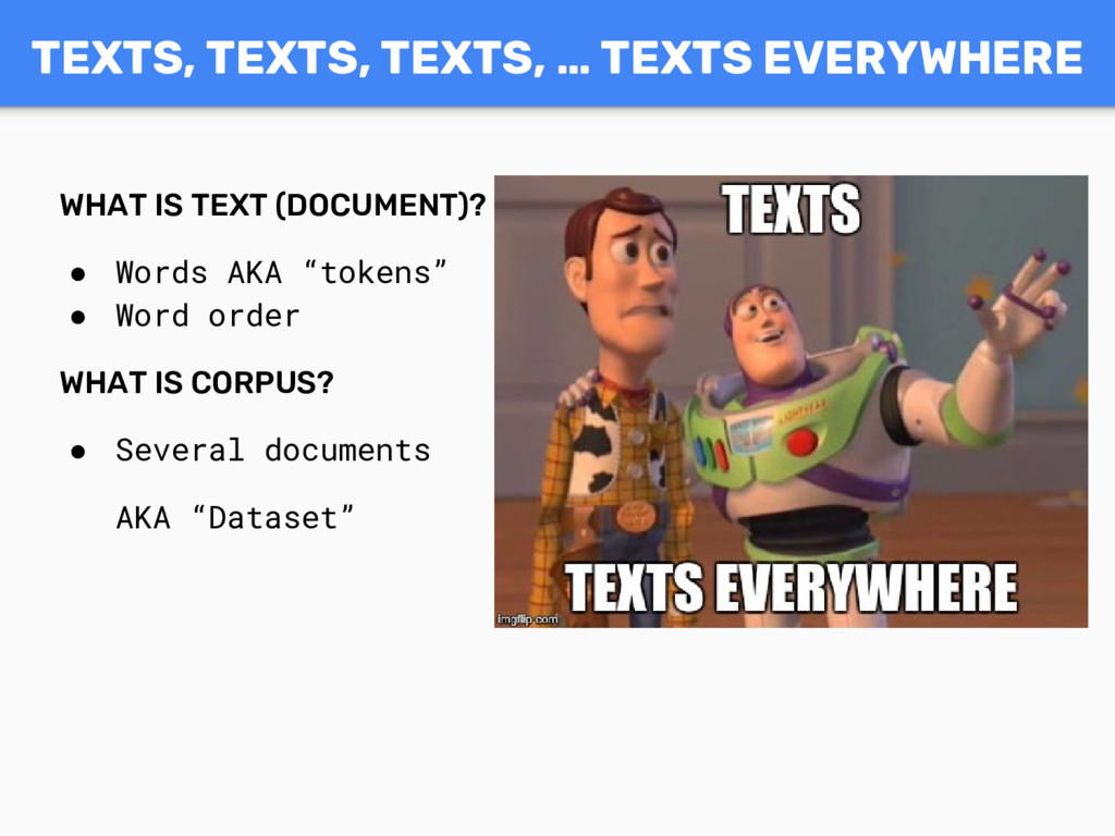 """WHAT IS TEXT (DOCUMENT)? ● Words AKA """"tokens"""" ●..."""