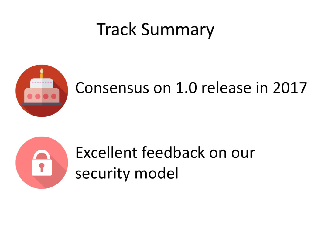 Track Summary Consensus on 1.0 release in 2017 ...