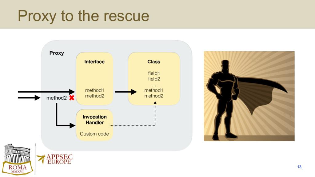 Proxy to the rescue 13 Class field1 field2 … meth...