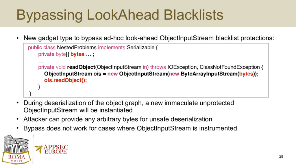Bypassing LookAhead Blacklists • New gadget typ...