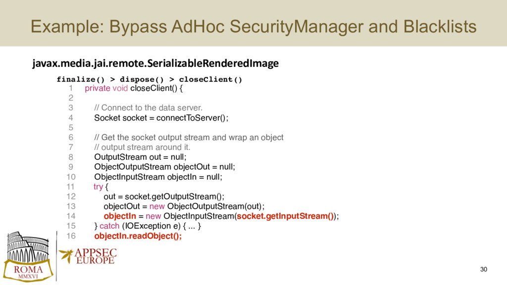 Example: Bypass AdHoc SecurityManager and Black...