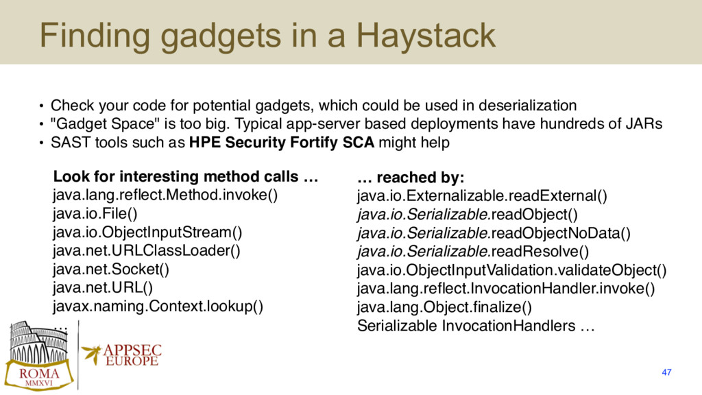 Finding gadgets in a Haystack • Check your code...
