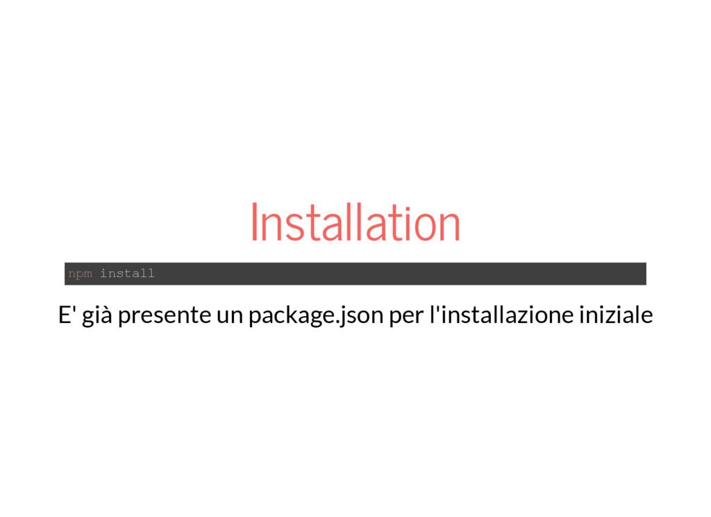 Installation npm install E' già presente un pac...