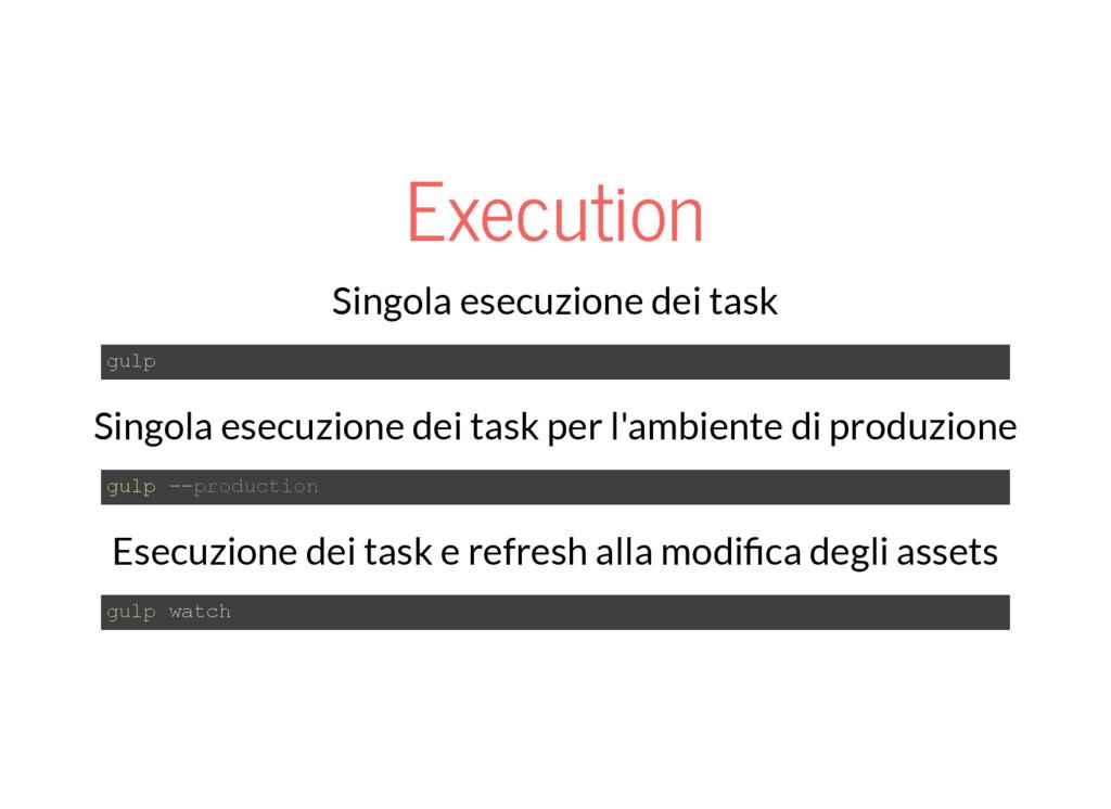 Execution Singola esecuzione dei task gulp Sing...