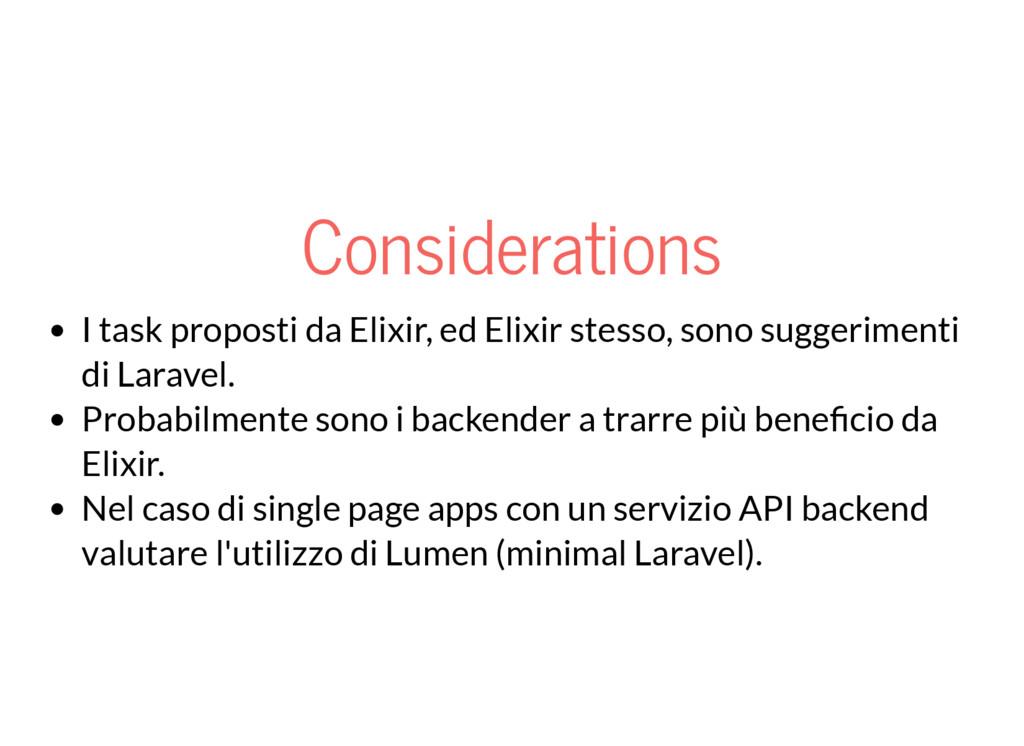 Considerations I task proposti da Elixir, ed El...