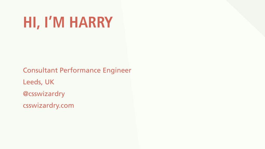 HI, I'M HARRY Consultant Performance Engineer L...
