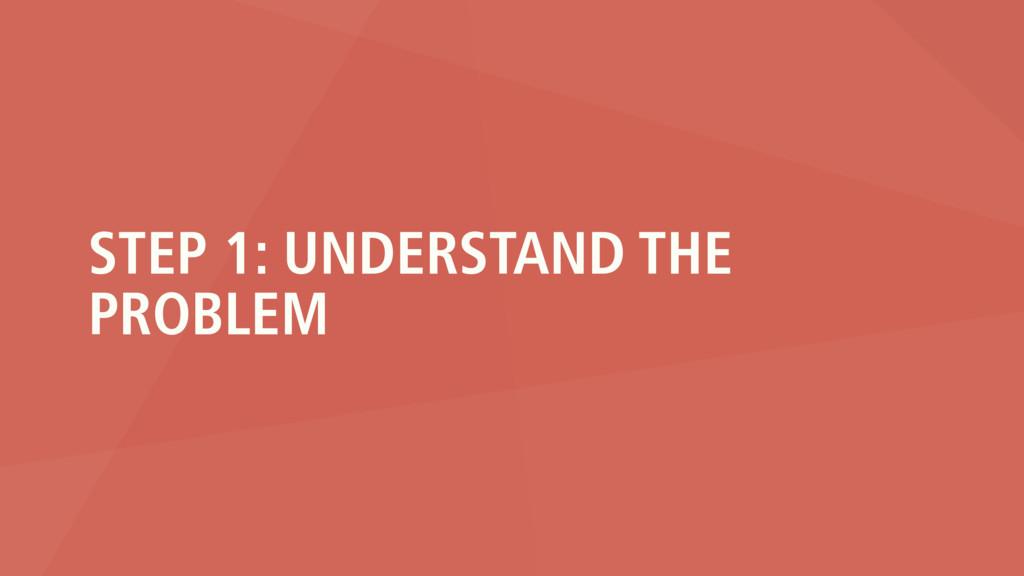 STEP 1: UNDERSTAND THE PROBLEM