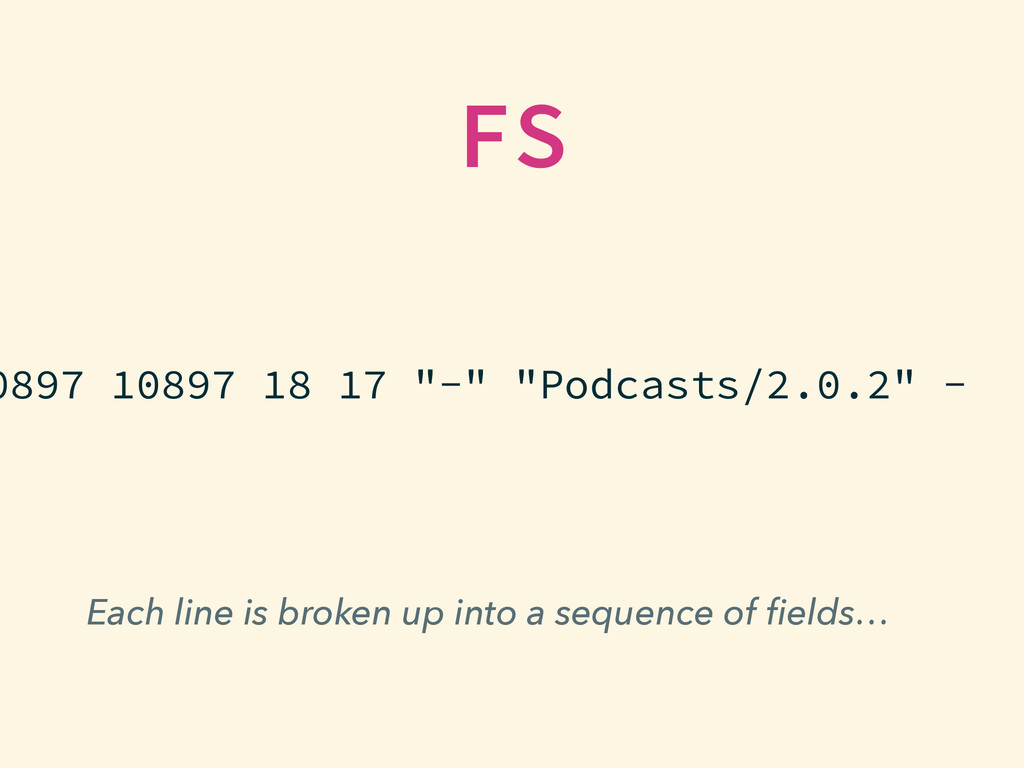 Each line is broken up into a sequence of fields...