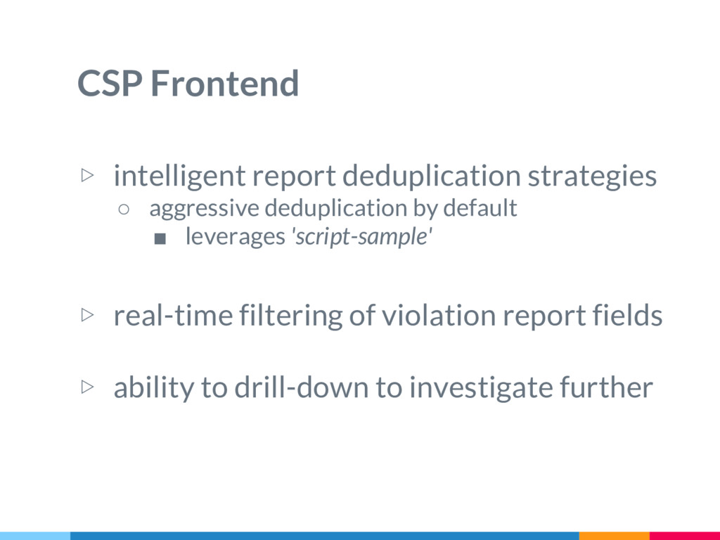 CSP Frontend ▷ intelligent report deduplication...