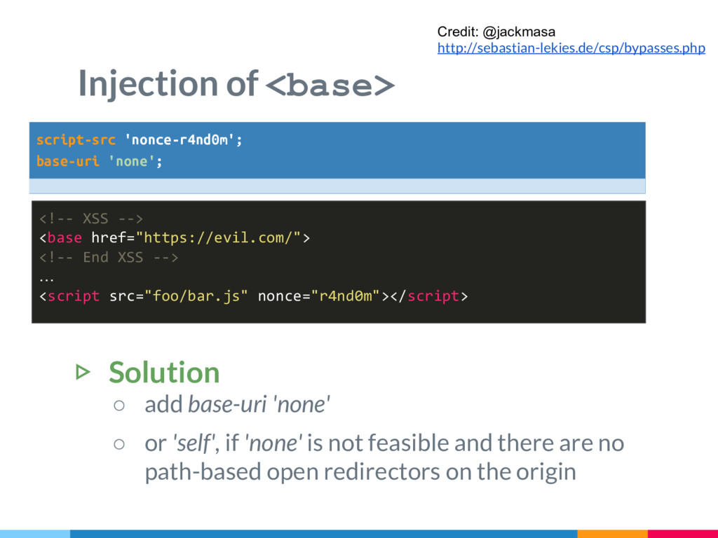 "Injection of <base> <!-- XSS --> <base href=""ht..."