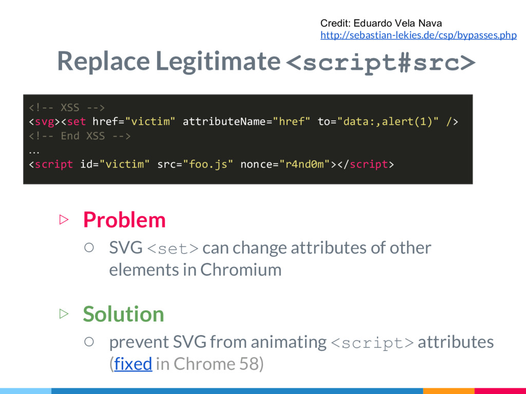 Replace Legitimate <script#src> ▷ Problem ○ SVG...