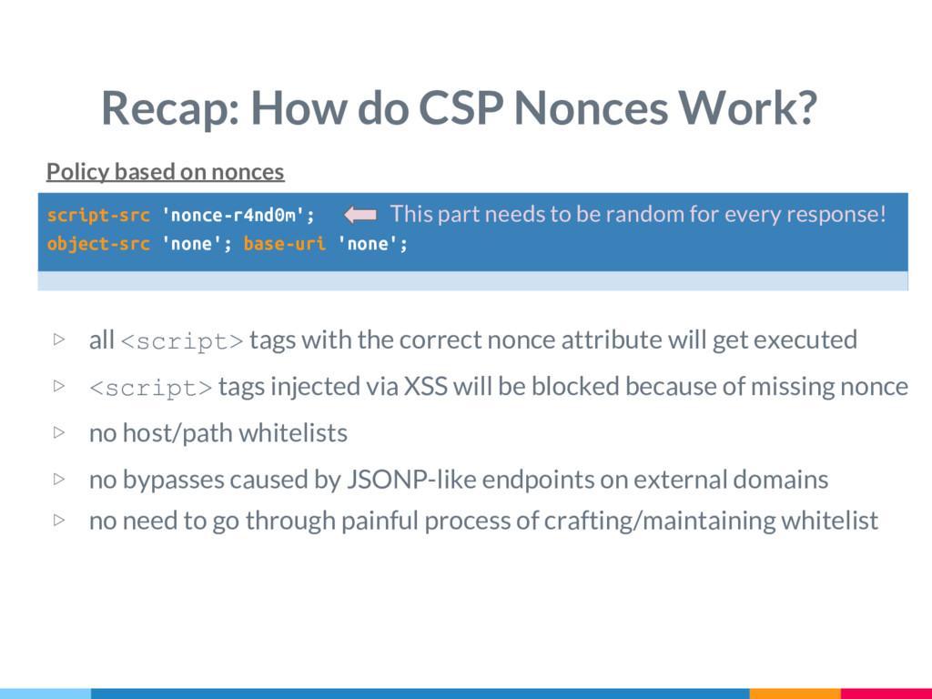 script-src 'nonce-r4nd0m'; object-src 'none'; b...
