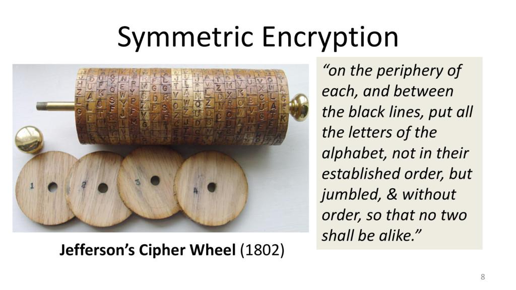 Symmetric Encryption 8 Jefferson's Cipher Wheel...