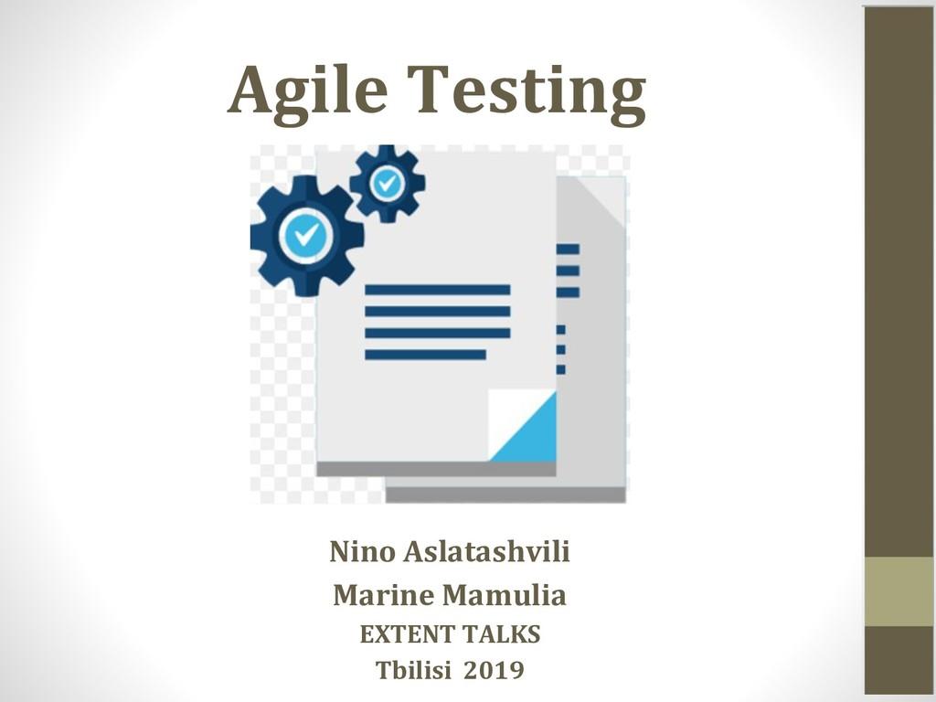 Agile Testing Nino Aslatashvili Marine Mamulia ...