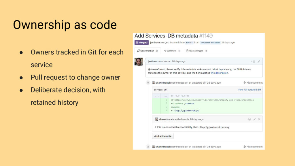 Ownership as code ● Owners tracked in Git for e...